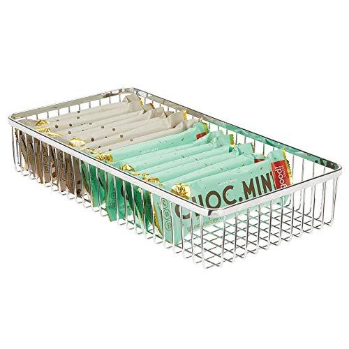 mDesign Porta posate universale in metallo – Organizer per posate da cassetto ideale anche per altri utensili da cucina – Portaposate per cassetti della cucina – cromo