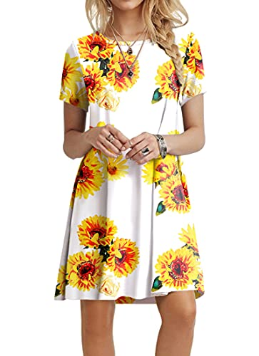 POPYOUNG Women's Casual Summer Dresses Tshirt Beach Dress 3XLarge, Floral SF-W
