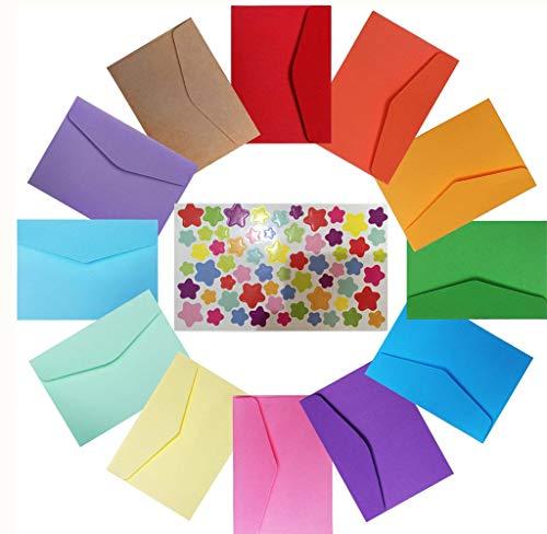 Mini Sobres,120 piezas 4.65 x 3.1 pulgadas Multicolor Pequeño Sobre Adorables y Lindos con Pegatinas Estrellas de Tamaño Múltiple