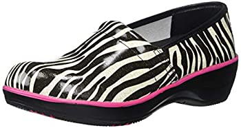 SMITTEN Women s Clog Shoe Animal Patent Leather with Shock-Absorbing Memory Foam Footbed Zebra Print 39