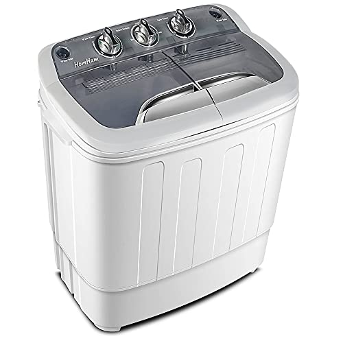 Twin Tub Mini Portable Clothes Washing Machine with Timer Control, 12.4lbs Capacity, Compact Washer(8lbs) and Spin Dryer Combo (4.4lbs) Semi-Automatic, For Apartment, Dorm, RV-Camping (White)