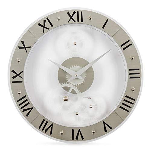 Incantesimo wandklok, geniaal, hoge dichtheid en zuiverheid glazuur, wit/grijs, 33 x 33 x 3 cm