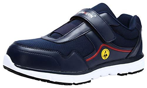 LARNMERN - Zapatos de acero para hombre con puntera de seguridad para trabajo y trabajo indestructibles, ligeras, transpirables, zapatos de construcción industrial, Azul/Esd, 10
