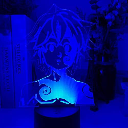3D Nachtlicht Acryl Nachtlicht Lampe Manga Die sieben tödlichen Sins Gadget für Zuhause Zimmer dekoratives Licht Meliodas Figur Kinder Tischlampe Geschenk ASQWZX