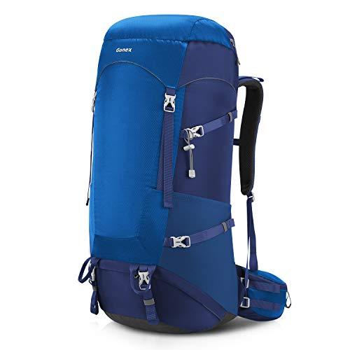 Gonex 65L/75L Internal Frame Hiking Backpack with Rain Cover Blue