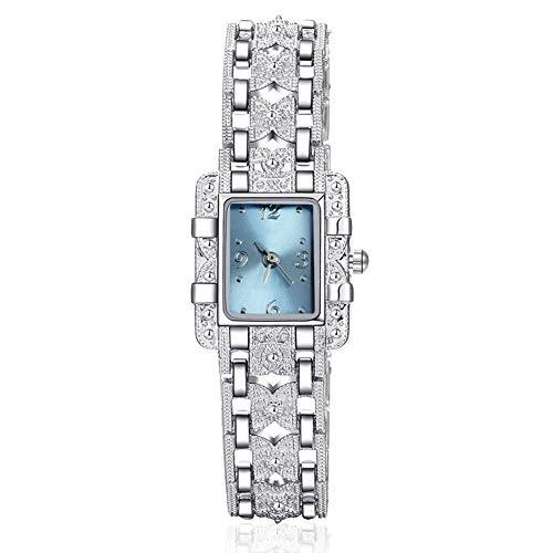 NOLOGO Reloj Lady Bracelet Fashion Crystal Watch Cuarzo Muñeca Aguja Vendaje Banda de Acero Inoxidable Diamante Casual Reloj de Esfera Cuadrada Deportes al Aire Libre (Color : Blue)