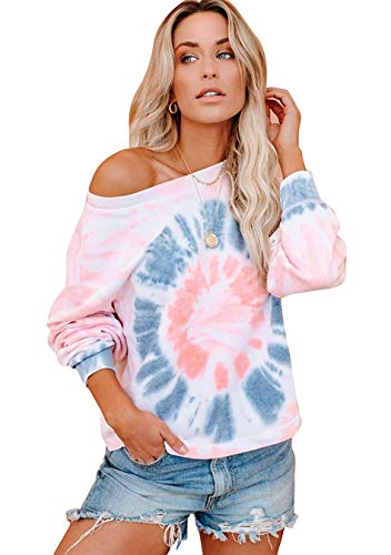 EFOFEI Damen Tie Dye Sweatshirts Farbblock Pullover Loose Oversized Shirts Langarm Crewneck Tops Rosa Grau L