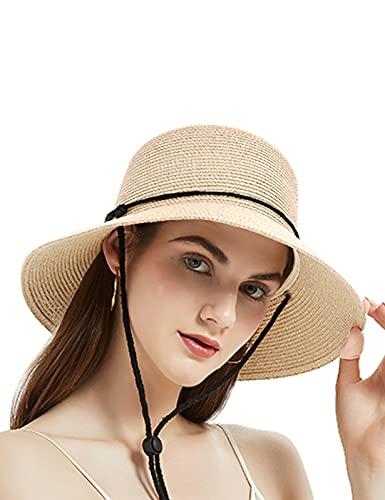 Geschallino Panama Sombrero de Sol de ala Ancha con Cordón para el Viento para Mujeres UPF Sombrero de Paja de Playa de Mujer Ligero y Plegable para el Verano, Beige