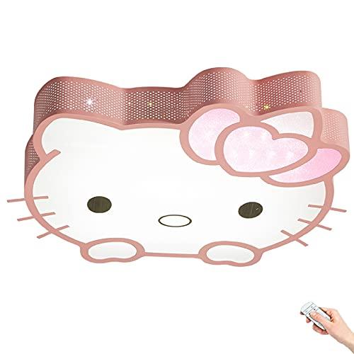 Lámpara de techo metal dormitorio creativo Luces de techo jardín infantes dibujos animados Focos Techo rosa estilo Hello Kitty Atenuación remota Pantalla de acrílico LED 64W