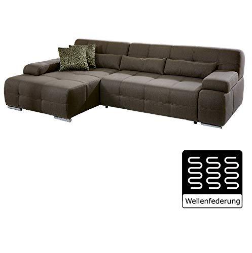 Cavadore Ecksofa Boogies mit Longchair links / Großes Sofa im modernen Design mit Strukturstoff / Rückenecht / Inklusive Kissen / Größe: 268x76x173 (BxHxT) / Farbe: Schlamm (braun)