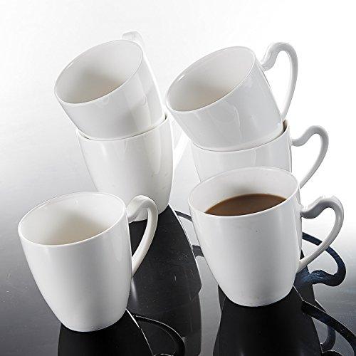 MALACASA, Serie Elvira, 6 Teiligen Set Kaffeeservice CremeWeiß Porzellan Kaffeetasse Tassen 5 Zoll / 12,5 * 9,5 * 9,5cm / 380ml Becher Teetasse Kaffeebecher-Set Bechersets für 6 Personen