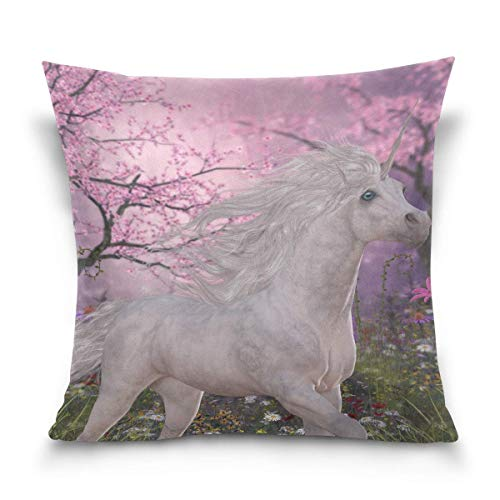 lucies Throw Pillow Case Decorative Cushion Cover Square Pillowcase, Unicorn Cherry Blossom Flower Forest Landscape Nature Sofa Bed Pillow Case Cover(18x18inch) Twin Sides