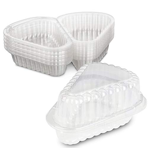 HingedExtra Small Plastic Pie,Cheesecake, Cake Slice Container for Small Pies and Cakes by MT Products - Pack of 20