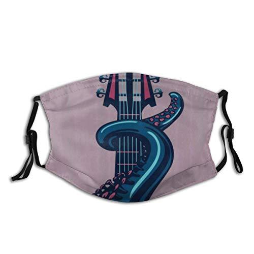 AIMILUX Gesichtsbedeckung,Octopus Marine Animal Play Gitarre Riff Instrument Rock Moderne Kunst,Sturmhaube Unisex Wiederverwendbar Winddicht Staubschutz Mund Bandanas Outdoor Camping Mit 2 Filtern