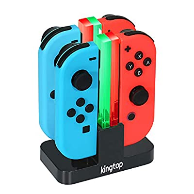 Nintendo Switch Joy-Con Charging Dock KINGTOP 4 in 1 Charger Stand and Charging Holder with Individual LED Indicator from KINGTOP