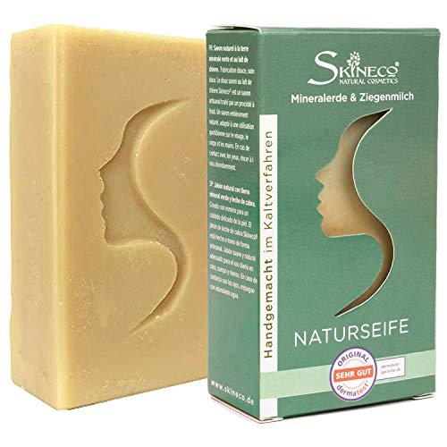Skineco Savon au lait de chèvre avec terre minérale verte, fabriqué à la main par procédé à froid (1 pièce)
