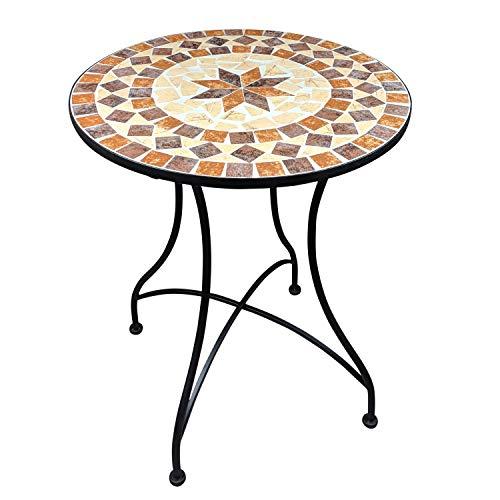 Mosaik Gartentisch Balkontisch Rund 60 cm Mosaiktisch Mediterran Beistelltisch Mosaik runder Gartentisch