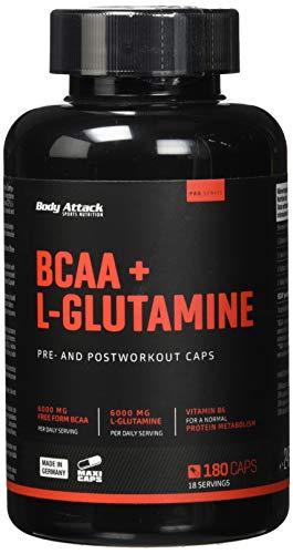 Body Attack-BCAA + L-Glutamin, hochdosierter Aminosäuren komplex mit Vitamin B6, 6000mg Glutamin & 6000mg BCAA, Pre & Post Workout Kapseln-Made in Germany-180 Kapseln
