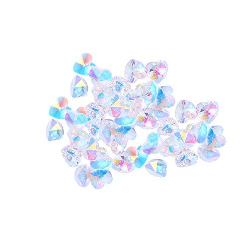 Artibetter 100 cuentas de cristal en forma de corazón con diamantes de...
