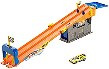 Hot Wheels Rooftop Race Garage Playset Race to the Finish Line then Pull Into the Garage for a Tune-up with the Rooftop Race Garage!