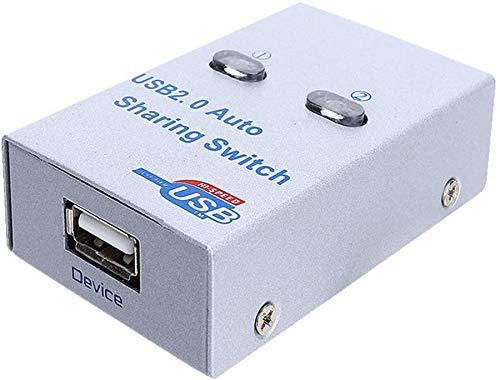 Ganquer USB 2.0 Schakelaar HUB Splitter Adapter Box Metalen 2 Poort Elektronische Printer Delen Schakelaar voor scanner/USB-schijf/kaartlezer/inkjetprinter/kopieerapparaat enz.
