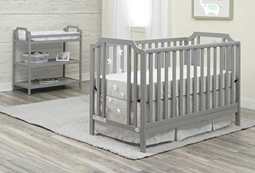 Suite Bebe - Celeste 3 in 1 Convertible Island Crib, Wood and Acrylic, Light Grey