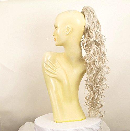 Postiche queue de cheval extension femme longue ondulée 65 cm blanche ref 10 en 60