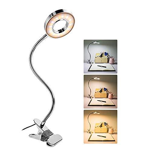 Lámpara de lectura LED, 24 LED USB con clip 3 colores y 10 niveles brillo, lámpara escritorio para cuidado ojos cuello cisne flexible 360 °, función memoria, apagado automático