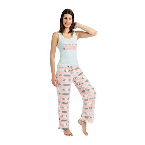 Body Candy Junior's Knit Pajama Tank Top with Luxe Fleece Sleep Pants, Blue, Medium