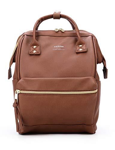 Kah&Kee Leder Rucksack Wickeltasche mit Laptopfach Travel School für Damen (Braun, Klein)
