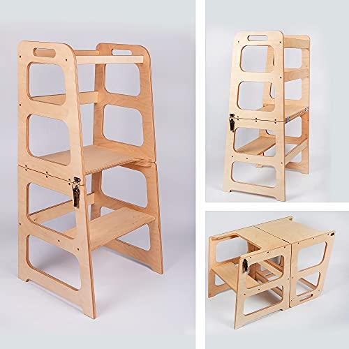 Torre de ayuda de cocina - Silla de mesa 2 en 1, torre de aprendizaje plegable, taburete de cocina, taburete moderno de madera para niños y niños, mesa de torre Montessori y silla
