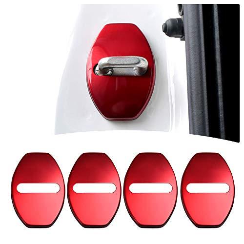 Yee Pin - Cubierta protectora de cerraduras de puerta de vehículo, de acero inoxidable, adhesivas, 4 paquetes, roja