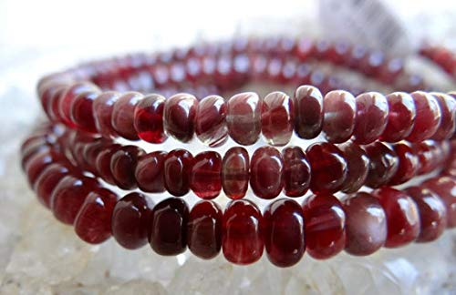 GemAbyss Beads Gemstone Rare Hard to Find Chatoyant Matte Red Labradorite Colombian Andesine | Smooth Rondelles | 3.5-6mm | Sold in Sets of 10 & 16 Rondelles Code-MVG-32316