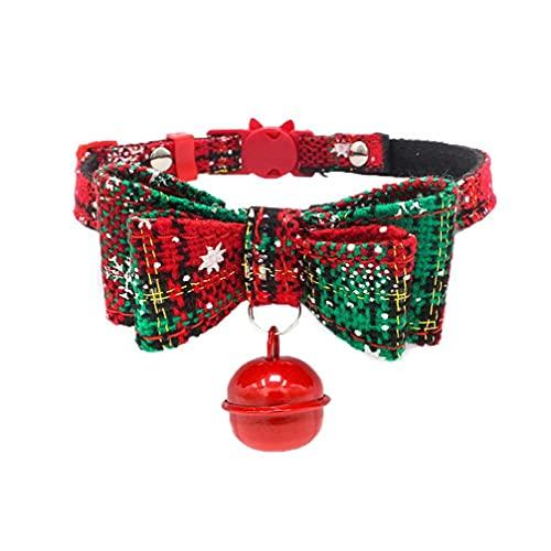 Aiyrchin Collar de Perro Cachorro de Navidad Collares Hechos a Mano con la Pajarita Ajustable Collar de Perro pequeño con Bell para Perros Gatos Gatito Verde S