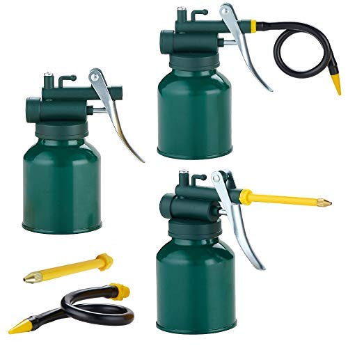Hand Pump Oil Can Tool, Pistol Oiler Can with 2 Spout Straight & Flexible - 8 oz. Capacity