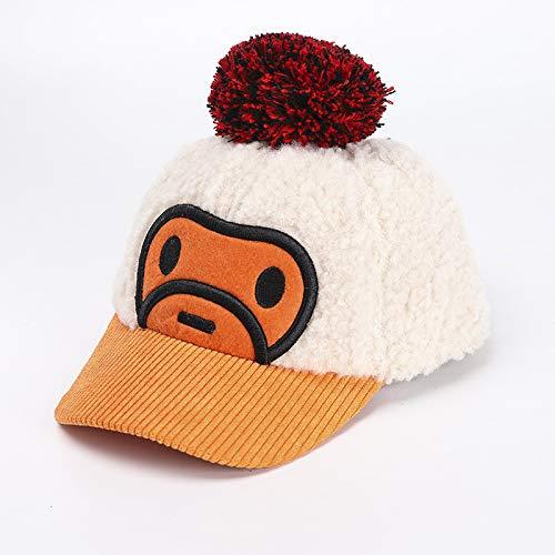 wopiaol Children's hat autumn and winter models plus velvet warm big hair ball monkey kid cap Korean baby hat tide