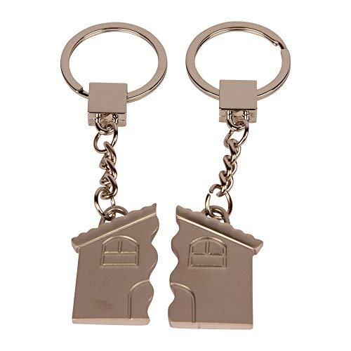 Formano Partnerschlüsselanhänger Schlüsselanhänger 2-tlg. Haus aus versilbertem Zink mit Strass-Steinen 4,5 x 4 cm- Silber