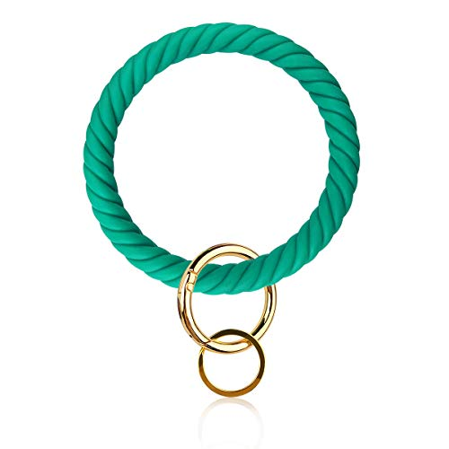 Silicone Bangle Key Ring Bracelet Key Rings, Round Keyring Circle Key Ring Holder for Women Girls Ideal Gifts (T-Green 2)
