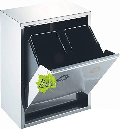 Made for us 30 L Edelstahl Wand-Abfalleimer 2x15 L Mülleimer 2-Fach Mülltrennung 2er Müll-Trennsystem 30 Liter Abfallsammler zur Abfall-Trennung original
