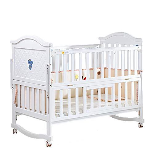 Babybett Babybett Massivholz Kinderbett Bett Multifunktions Kinderbett Bett Spleißen (Farbe : Weiß, größe : 118 * 71 * 99cm)