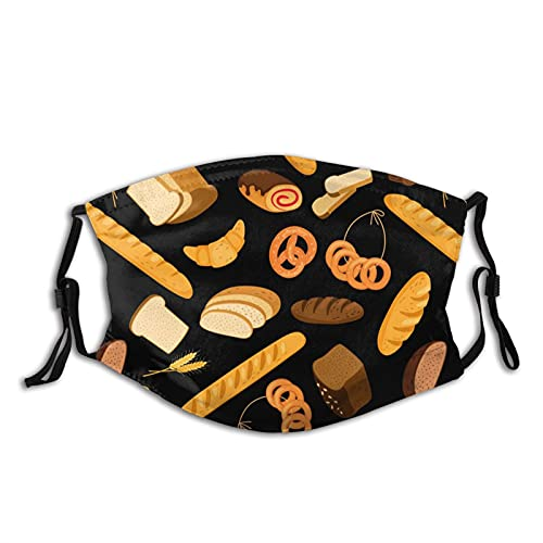 Breads Cookies Print Face Mask, Washable Reusable Adjustable Adults Masks With Filter Balaclava For Women Men