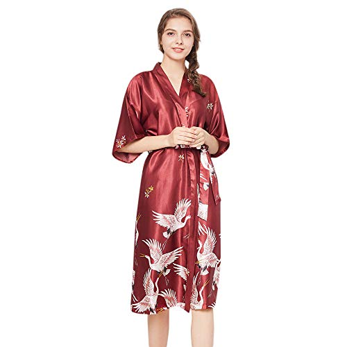 LianMengMVP Lingerie Femme Chic Peignoir Soie Dentelle Robes Robe Nuisette Chemise Vêtements De Pyjama Kimono Ensemble 2pcs