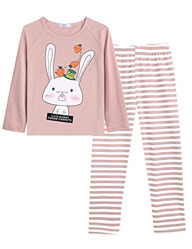 Brcinat Schlafanzug Mädchen 140 Lang Pyjama Mädchen 134 Langarm Baumwolle Hase Winter Weihnachten Party Rosa