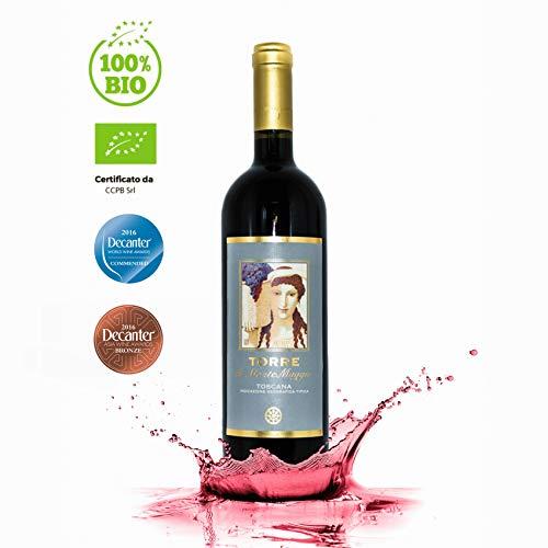 Torre di Montemaggio - Rotwein Bio - Super Toskanischer Luxuriöser Edler Bio - 100% Merlot - Wein aus Italien - Fattoria di Montemaggio - 0.75L