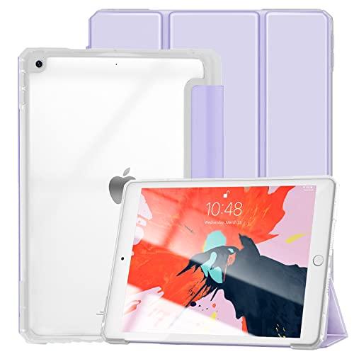 Gahwa Hülle für iPad 9. Gen 2021/8. Gen 2020/7. Gen 2019, 10,2 Zoll Ultra Leicht Schutzhülle Transluzent Rückseite, Auto Schlaf/Wach Funktion, Magnetische Abdeckung (Kein Stifthalter) - Helles Lila