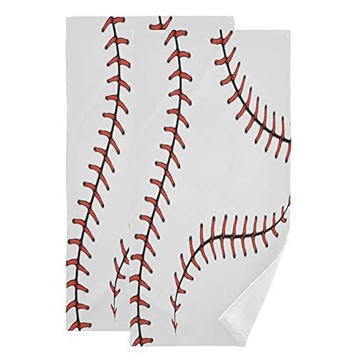 QMIN - Juego de 2 toallas de mano con patrón de encaje de béisbol para cocina, baño, yoga, gimnasio, playa, 71,9 x 36,6 cm