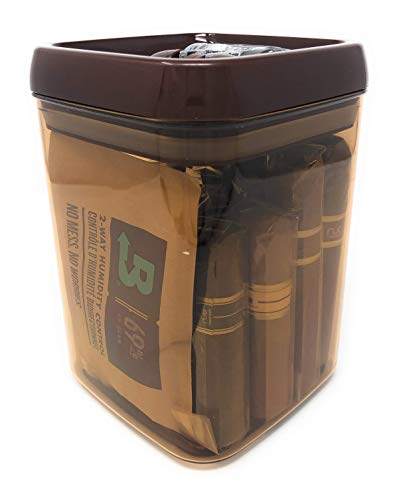 Easy Open Acrylic Jar Humidor w/UV Protection for Short Nub Style Cigars up to 5' with Boveda 69% Humidity System Holds up to 20 Cigars