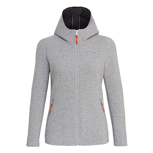 Salewa W Sarner 2L Wool Full-Zip Hoody Grau, Damen Isolationsjacke, Größe 40 - Farbe Silver