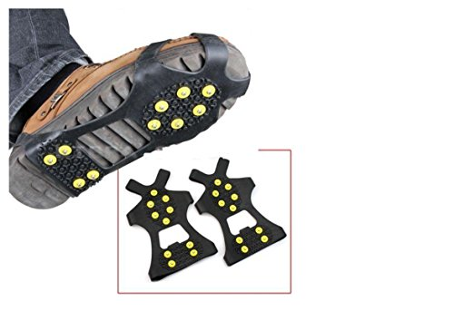 Coollooda Antideslizante Winter Ice Grippers Ice Snow Grips Senderismo Pesca Escalada Snow Traction Cleats Crampon Spikers Ice Traction Slip Boots Zapatos Cubierta Fit L