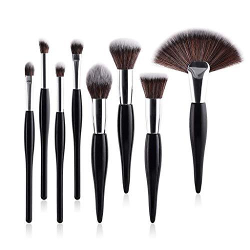Eyeshadow Brushes 8 Piece Maquillage Brosse Ensemble Pinceau Brosse Poudre Libre Poudre Kabuki Fondation Brosse Yeux Ombre À Paupières Maquillage Outil Poignée Noire Tube En Argent (Couleur : NOIR)